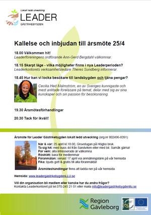 Inbjudan till årsmöte med Leaderinfo och inspirationsföreläsning om besöksnäring.