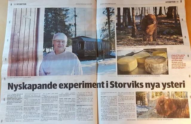 ARtikel om Åsas ost i Gästriklands tidning den 27 januari 2017