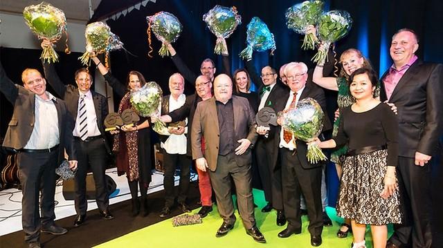 Bild på vinnarna i alla kategorierna på Landsbygdsgalan 2017. Fotograf: David Wreland